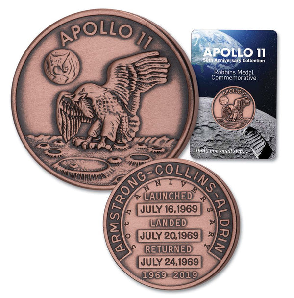 APOLLO 11 50th ANNIVERSARY ROBBINS COMMEMORATIVE ANTIQUE COPPER MEDALLION - The Space Store