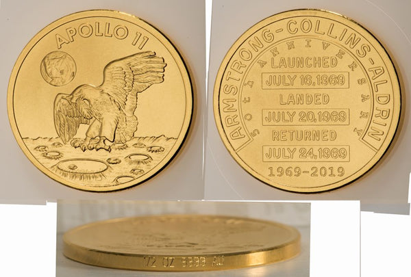 Apollo 11 Robbins Commemorative 50th Anniversary Collection 1/2oz Gold Matte Proof Medallion - The Space Store