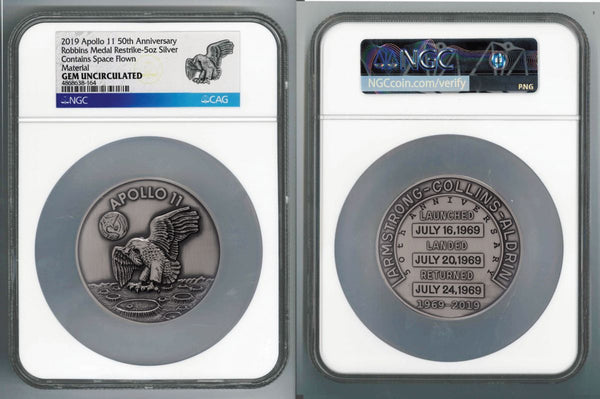 Apollo 11 Robbins Medal 5-oz Silver with Space Flown Alloy NGC Gem Uncirculated - 50th Anniversary Commemorative - The Space Store