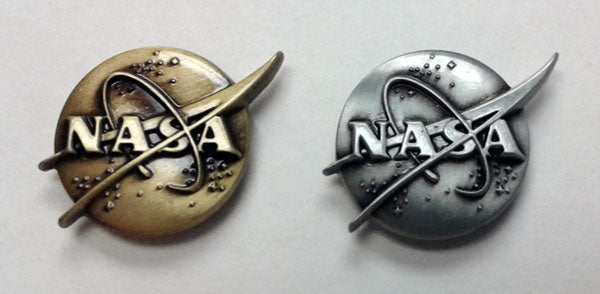 NASA 3D LAPEL PIN IN ANTIQUE BRONZE OR SILVER
