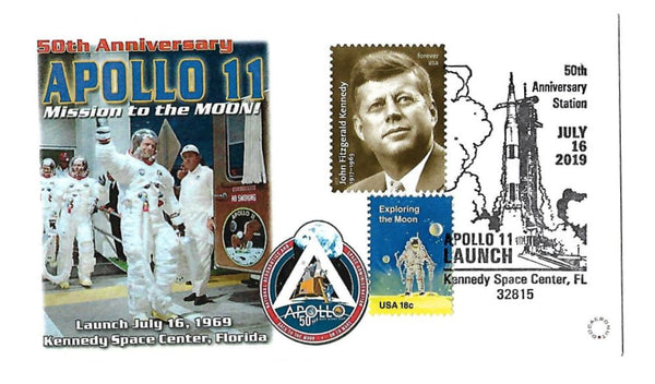 50TH Anniversary APOLLO 11 Mission to the Moon Cover w/ JFK Stamp - The Space Store