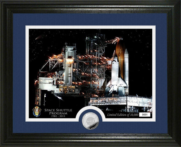 Space Shuttle Frame Night Launch with Space Shuttle Coin - The Space Store