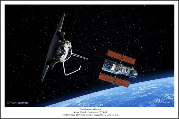 "SPACE SHUTTLE & HUBBLE TELESCOPE - ""THE RESCUE MISSION""- Giclee - The Space Store"