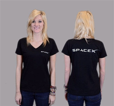 Women's SpaceX V-Neck (Black) - Adult