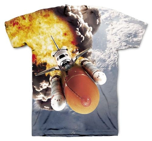Space Shuttle Launch 2-Sided, Full Color Sublimation Shirt in Adult Sizing