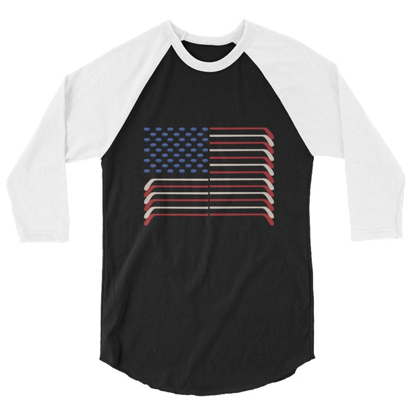 USA FLAG HOCKEY STICKS AND PUCKS SHIRT - 3/4 RAGLAN ADULT