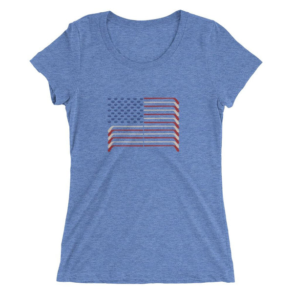 USA FLAG HOCKEY STICKS AND PUCKS SHIRT - WOMEN'S CUT BELLA + CANVAS - The Space Store