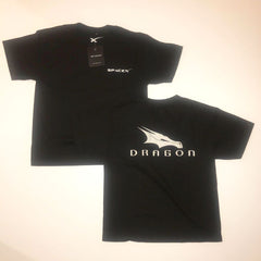 SPACEX DRAGON T-SHIRT in YOUTH SIZING. Black with Silver Logo