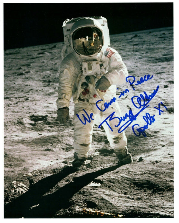 Buzz Aldrin Signed Photo 'We Came in Peace' - The Space Store