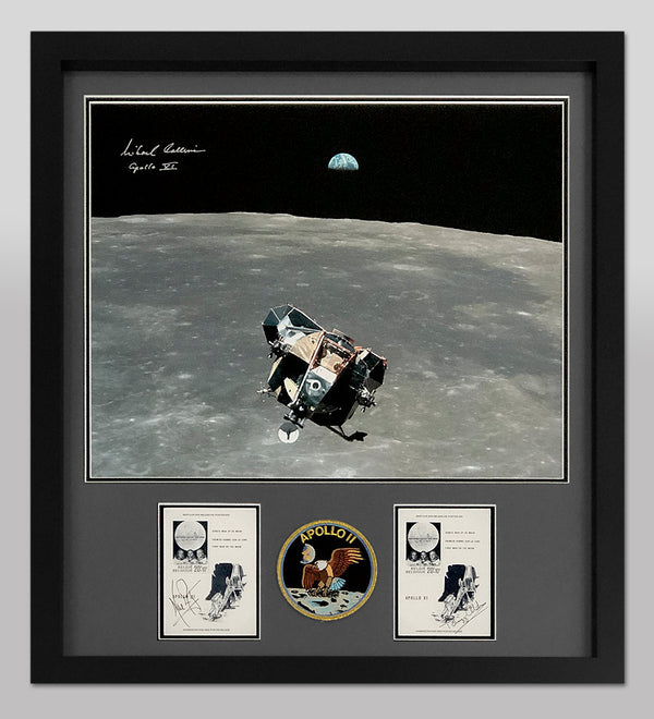 Michael Collins Signed Photo with Sieger Stamp Sheets signed by Armstrong and Aldrin