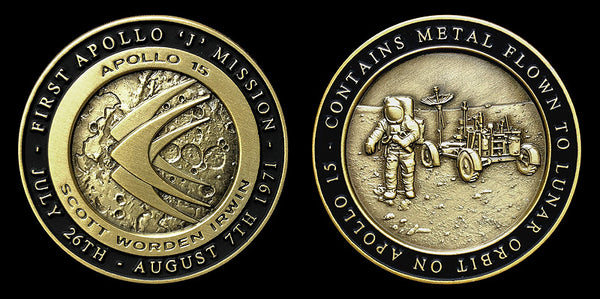Apollo 15 Medallion Minted With Flown To Lunar Orbit Metal - The Space Store