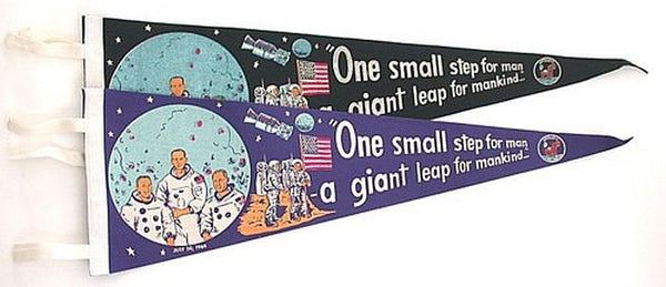 "Vintage Apollo 11 Moon Landing Pennant ""One Small Step"" (in Blue or Black) - The Space Store"