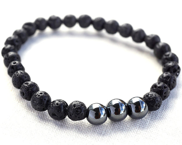 Santorini Black Lava Raw Stone Bracelet Natural Hematite Ball Essential Oil Diffuser Jewelry Aromatherapy unisex bracelet - The Space Store
