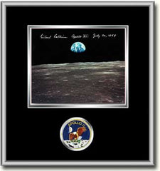 "Michael Collins Framed 8"" x 10"" Earthrise Over Smyth's Sea"