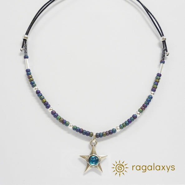 STAR PENDANT - Blue Crystal - with FASHION CHAIN