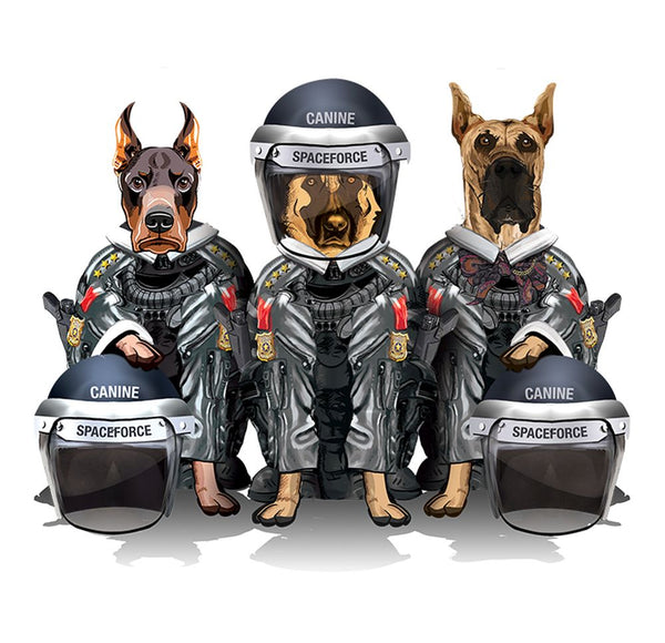 CANINE SPACEFORCE - LADIES CUT T-SHIRT