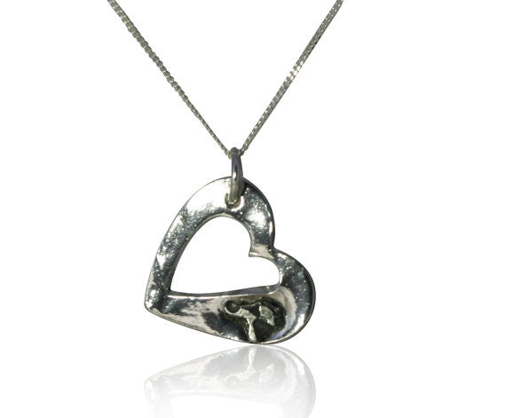 Solid Silver Cutout Heart Necklace - With Iron Meteorite