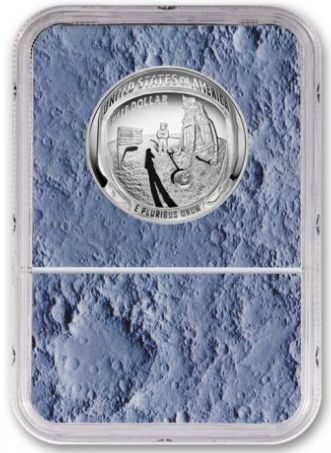 NEW! US MINT 2019-S Apollo 11 50th Anniversary Clad Half Dollar NGC PF70UC - Moon Core with Mission Patch - The Space Store
