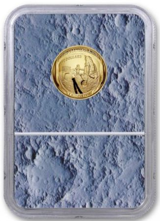 NEW! US MINT 2019-W Apollo 11 50th Anniversary $5 Gold NGC PF70UC - Moon Core with Mission Patch - The Space Store