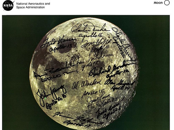 Moon Lithograph Signed by 13 Apollo Astronauts - The Space Store