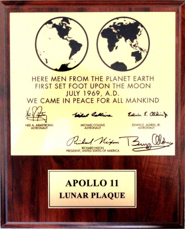 Apollo 11 Lunar Plaque signed by Buzz Aldrin - The Space Store