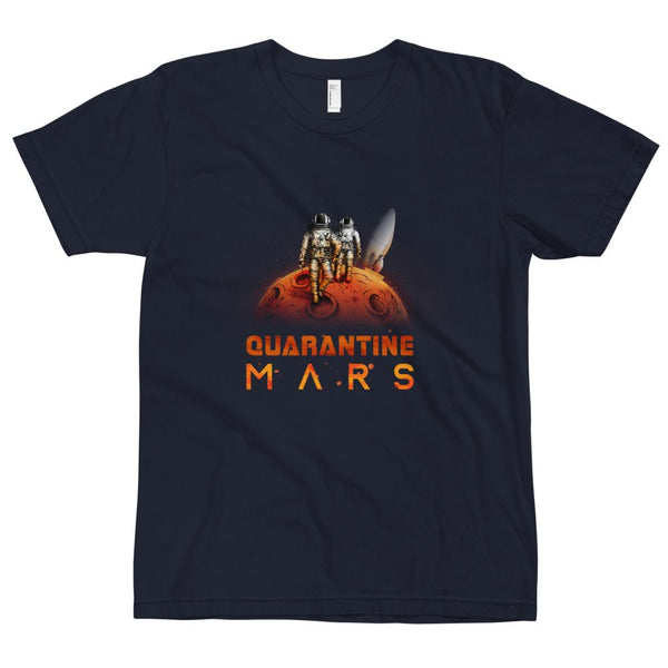 'Quarantine Mars' in unisex adult sizing on American Apparel 2001 shirt.