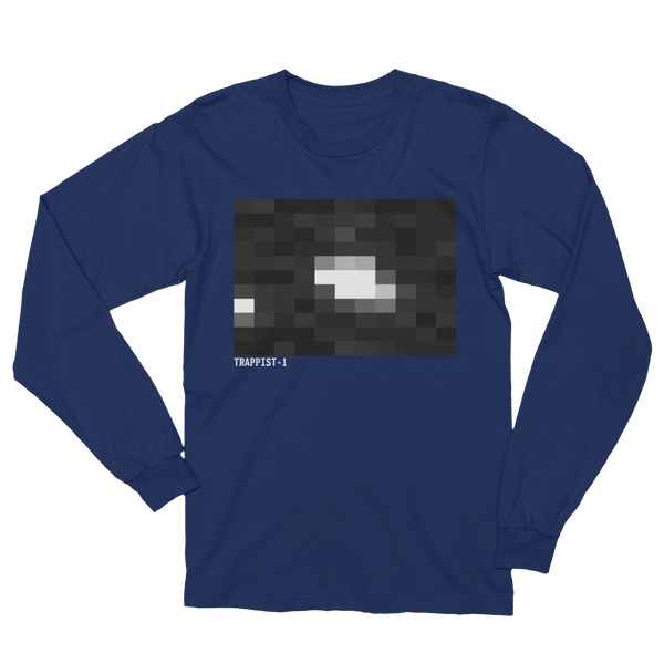TRAPPIST-1 The First Image - Made in America Long Sleeve T-Shirt - Black, Blue, Gray - The Space Store