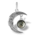 "Moon Pendant with real lunar meteorite granules with 18"" sterling silver chain."