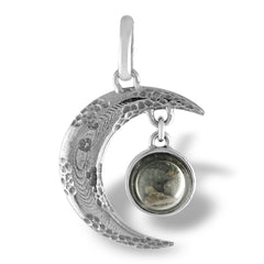"Moon Rock Pendant with real lunar meteorite granules with 20"" sterling silver chain."
