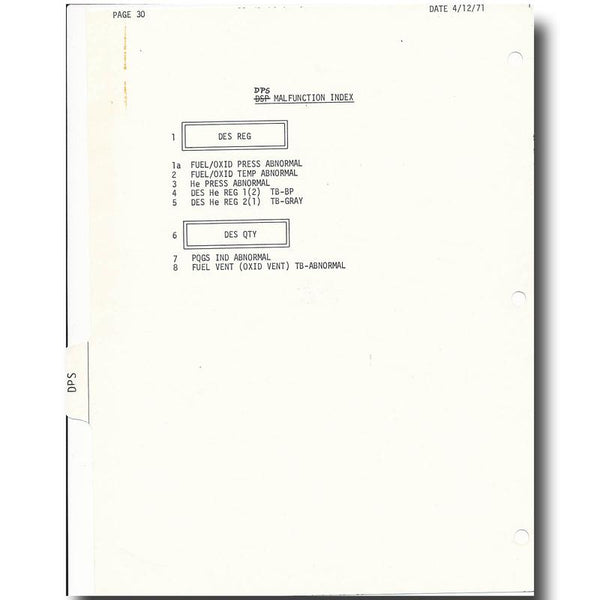 "APOLLO 15 LUNAR SURFACE FLOWN ""DPS"" INDEX CHECKLIST - EX DAVID SCOTT - The Space Store"