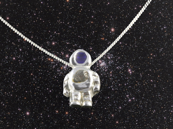 Astronaut Pendant with Iron Meteorite on Silver Chain - The Space Store