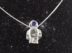 Astronaut Pendant with Iron Meteorite on Silver Chain