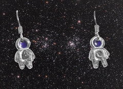 Silver Spaceman Meteorite Earrings