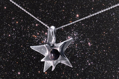 "Sterling Silver Star Meteorite Pendant with 18"" sterling silver chain"