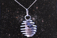 "Stone Meteorite Cage Pendant with 18"" Sterling Silver Chain Necklace"