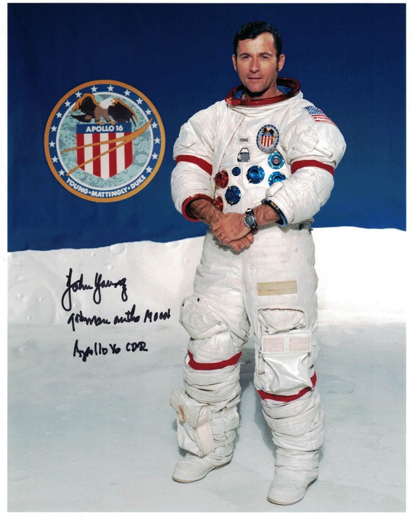 John Young signed photo '9th Man on the Moon'