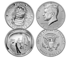 Apollo 11 50th Anniversary Half Dollar & Kennedy Half Dollar 2-Piece Set NGC PF70 First Releases - Moon Core with Mission Patch