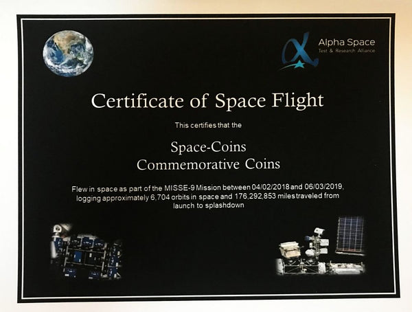 SpaceX flown silver coin- this coin spent 14 month in space! Dragon, Falcon, ISS - The Space Store