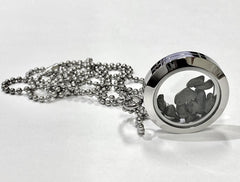 "Agoudal Meteorite granules locket pendant with 18"" silver chain and giftbox"