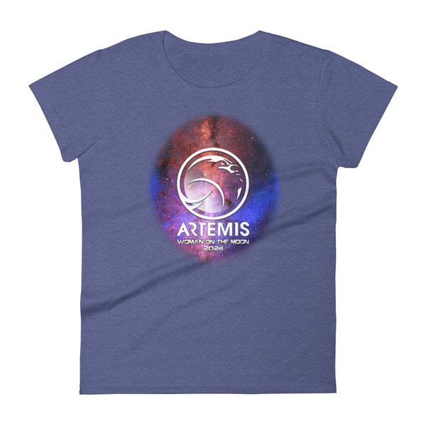 NASA 'Woman on the Moon' Artemis logo shirt on ladies cut Anvil 880 - The Space Store