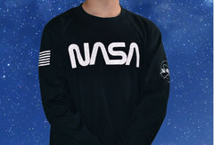 NASA Worm Reflective Logo Long Sleeve Youth Shirt