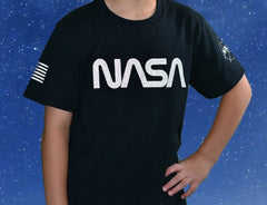 NASA Worm Reflective Logo Short Sleeve Youth Shirt