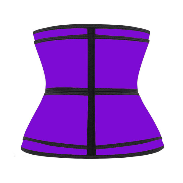Purple Double Belts Zipper Latex Corset 3XS-6XL MH1789