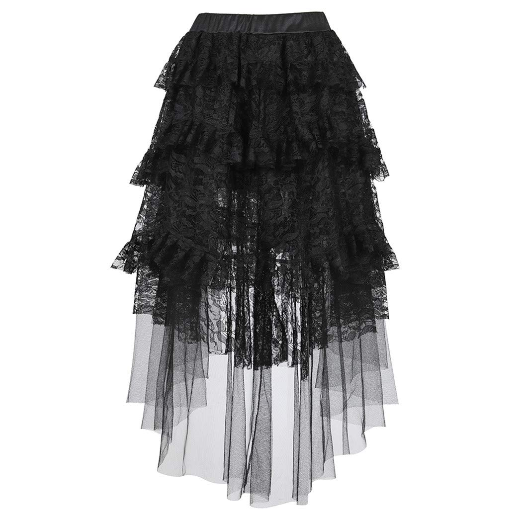 Steampunk Victorian Black Lace Skirt High Low Skirt