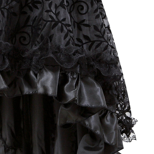 Corset Tutu Skirt-NaughtySmileUSA-Steampunk Corset Skirt Victorian Lace Trim Multi Layered
