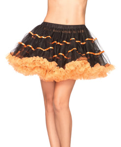 Leg Avenue  Layered Striped Petticoat Dress, Black/Orange, One Size SKIRT