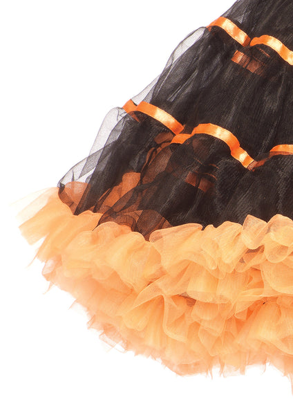 Corset Tutu Skirt-NaughtySmileUSA-Leg Avenue  Layered Striped Petticoat Dress, Black/Orange, One Size SKIRT
