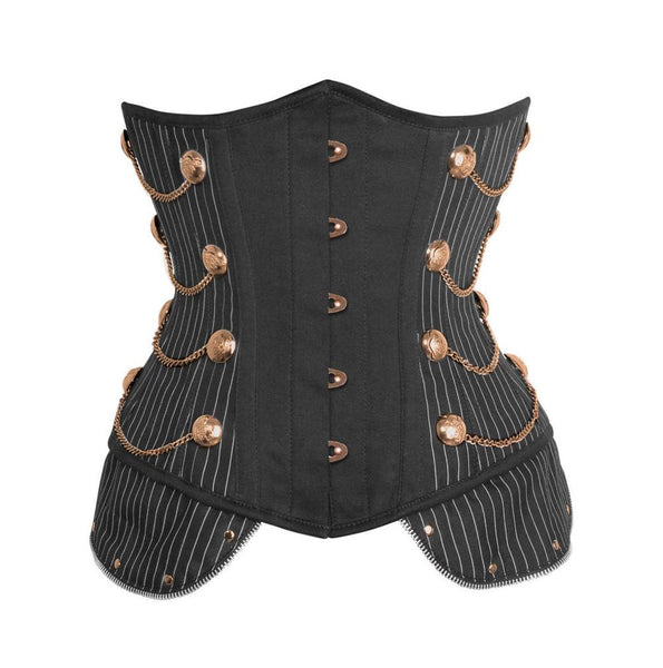 Shushan Pinstripe Underbust Corset With Chain
