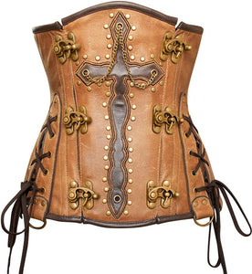 Guthrie Crossed Design Crunch Leather Underbust Corset