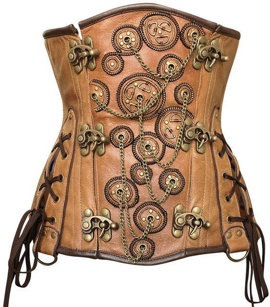 Malcolm Embroidered Crunch Leather Underbust Corset